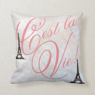 C'est La Vie! Eiffel Tower Paris Lights Pillow