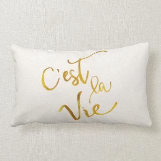 C'est La Vie Gold Faux Foil Metallic Motivational Lumbar Pillow