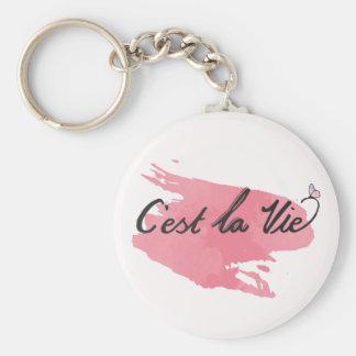 C'est La Vie Quote Pink Water color Key Chain