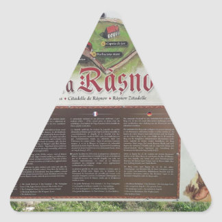 Cetatea Rasnov, Romania. Historic fortress map. Triangle Sticker