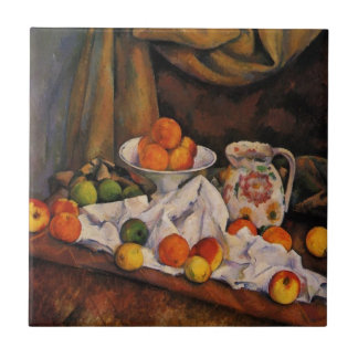 Cezanne: Fruit Bowl, Pitcher and Fruit artwork Small Square Tile