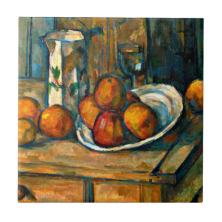 Cezanne - Still Life with Milk Jug and Fruit Small Square Tile
