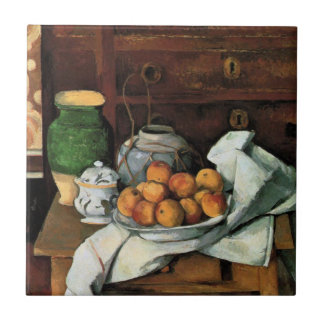 Cezanne - Vessels, Fruit and Cloth Small Square Tile