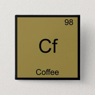 Cf - Coffee Funny Chemistry Element Symbol T-Shirt 15 Cm Square Badge