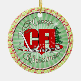 CFI CHRISTMAS Certificated Flight Instructor Ceramic Ornament