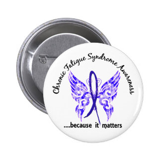CFS Chronic Fatigue Syndrome Butterfly Button
