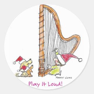 CH-004 Christmas Harp Classic Round Sticker