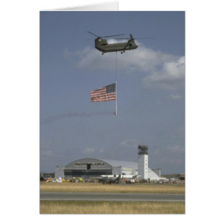 CH-47 Helicopter W/ American Flag Greeting Cards