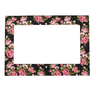 Chabby Chic Pink And White Roses Magnetic Picture Frame