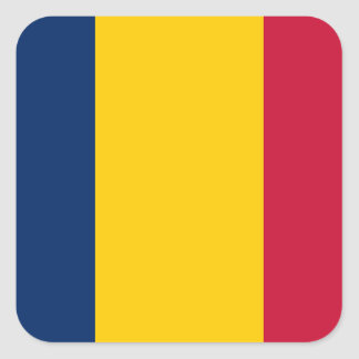 Chad National World Flag Square Sticker