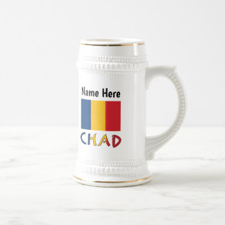 Chadian Flag and Chad with Name Beer Stein