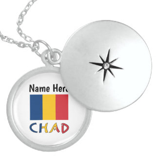 Chadian Flag and Chad with Name Sterling Silver Necklace
