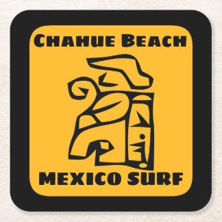 Chahue Beach Surf Square Paper Coaster