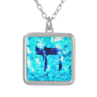 Chai Jewish sparkly blue necklace