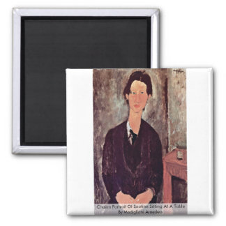 Chaiim Portrait Of Soutine Sitting At A Table Fridge Magnet