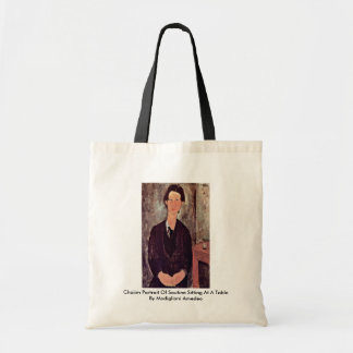 Chaiim Portrait Of Soutine Sitting At A Table Canvas Bags