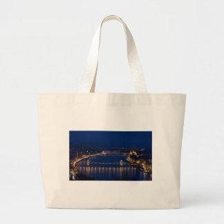 Chain bridge Hungary Budapest at night Large Tote Bag