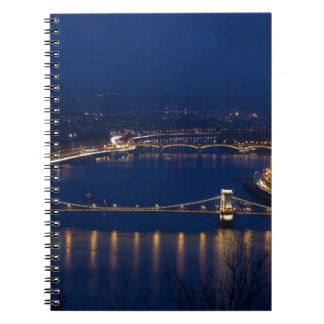 Chain bridge Hungary Budapest at night Notebook