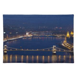 Chain bridge Hungary Budapest at night Placemat