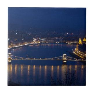 Chain bridge Hungary Budapest at night Small Square Tile