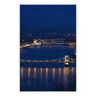Chain bridge Hungary Budapest at night Stationery