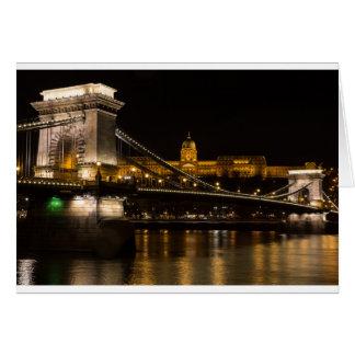 Chain Bridge with Buda Castle Hungary Budapest Card