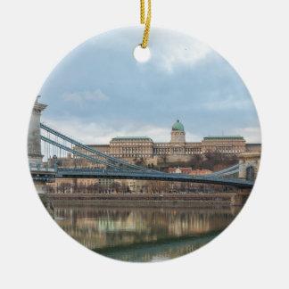 Chain Bridge with Buda Castle Hungary Budapest Ceramic Ornament