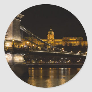 Chain Bridge with Buda Castle Hungary Budapest Classic Round Sticker