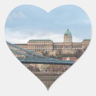 Chain Bridge with Buda Castle Hungary Budapest Heart Sticker