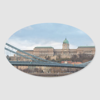 Chain Bridge with Buda Castle Hungary Budapest Oval Sticker