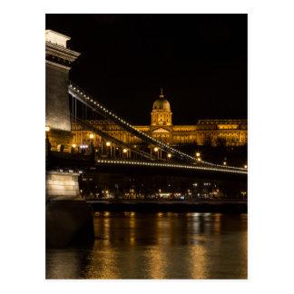 Chain Bridge with Buda Castle Hungary Budapest Postcard