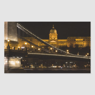 Chain Bridge with Buda Castle Hungary Budapest Rectangular Sticker