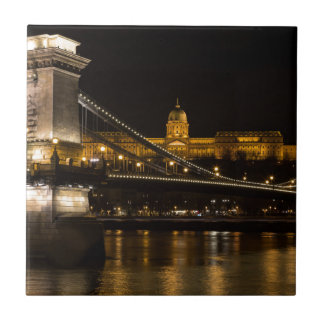 Chain Bridge with Buda Castle Hungary Budapest Small Square Tile