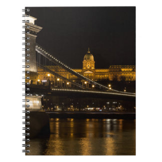 Chain Bridge with Buda Castle Hungary Budapest Spiral Notebook