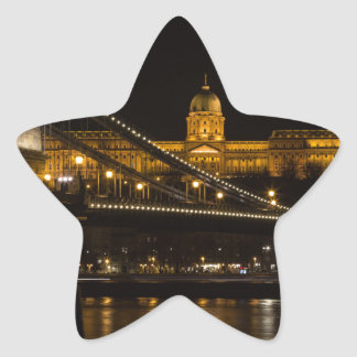 Chain Bridge with Buda Castle Hungary Budapest Star Sticker