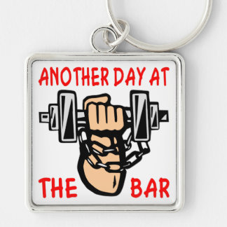 Chain & Dumbbell Another Day At The Bar Silver-Colored Square Key Ring