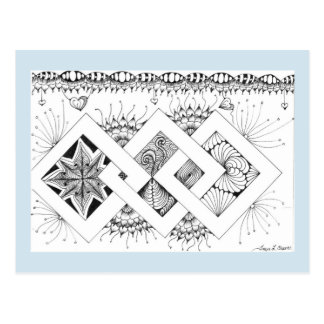 Chain link tangle postcard