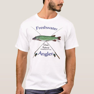 Chain Pickerel Freshwater angler fishing Tshirt. T-Shirt