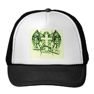 CHAINED AND WINGED CROSS PRINT CAP