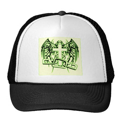 CHAINED AND WINGED CROSS PRINT MESH HAT