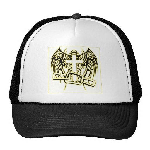 CHAINED AND WINGED CROSS PRINT HATS