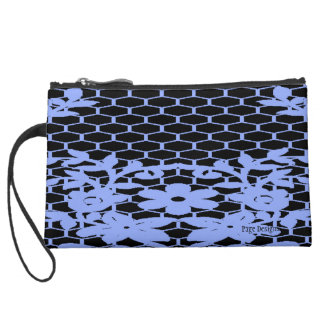 Chained-Blue-Flower(c) Fabric -Sueded Mini Clutch