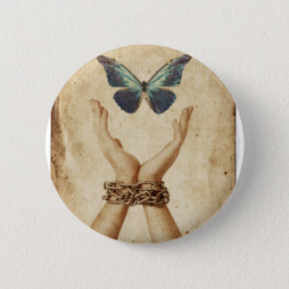 Chained Hand With Butterfly Hovering Above 6 Cm Round Badge