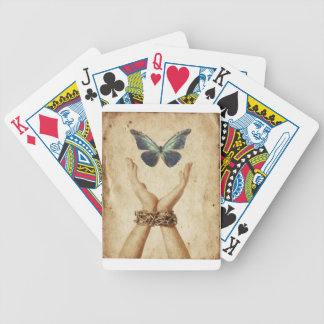 Chained Hand With Butterfly Hovering Above Bicycle Playing Cards