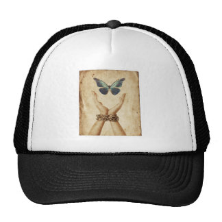 Chained Hand With Butterfly Hovering Above Cap