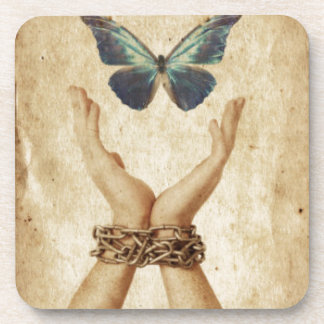 Chained Hand With Butterfly Hovering Above Coaster