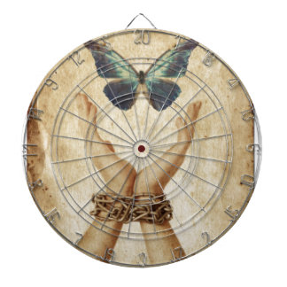Chained Hand With Butterfly Hovering Above Dartboard
