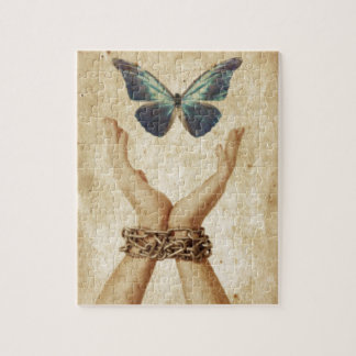 Chained Hand With Butterfly Hovering Above Puzzles