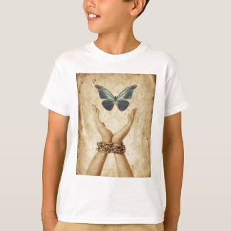 Chained Hand With Butterfly Hovering Above T-Shirt