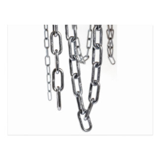 Chains hanging in front of white background postcard